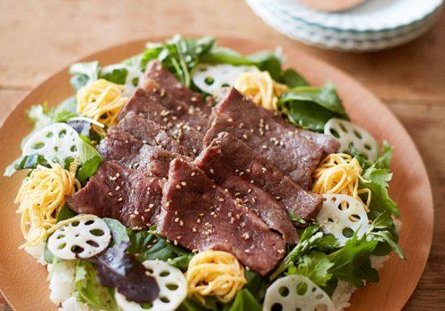 熟成肉の牛カルビのサラダちらし寿司
